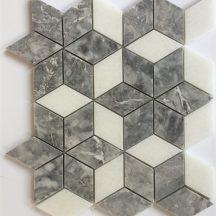 Đá dán Mosaics 3D màu ghi và trắng MT-MO005