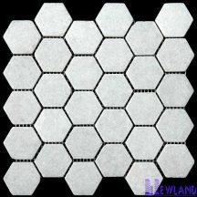 Đá dán Mosaics Lục Giác Trắng MT-MO0019